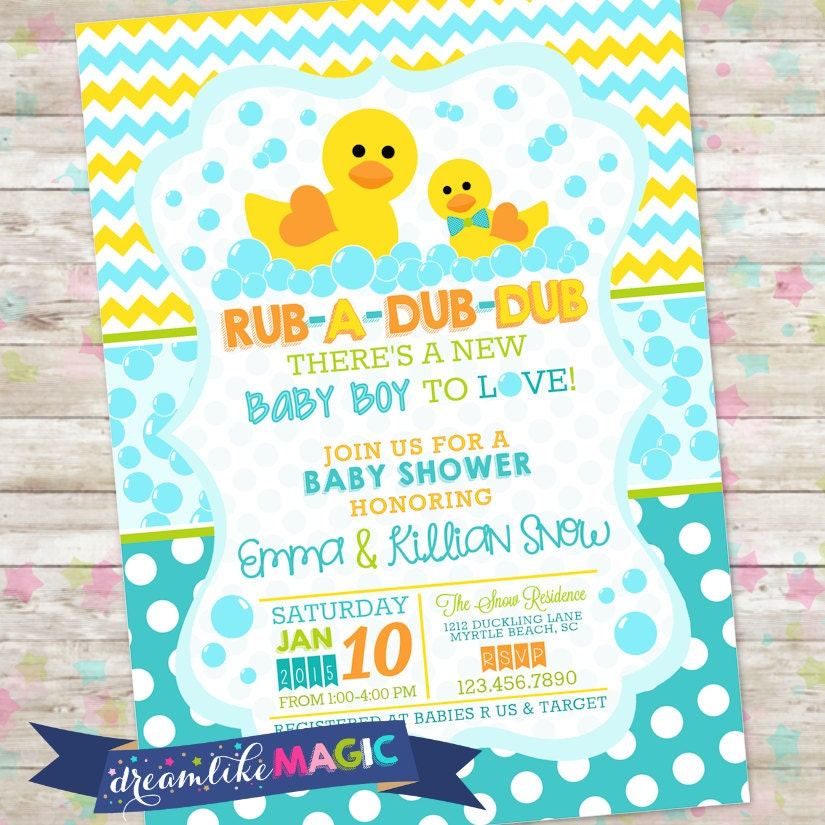 Rub-A-Dub-Dub Baby Shower Baby Boy Invite Rubber Duck Baby