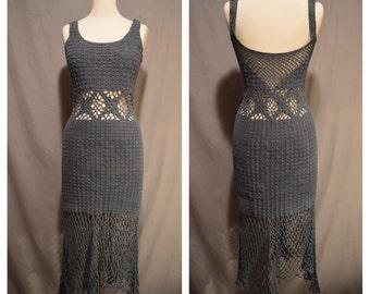 Vintage Grey Blue Crochet Festival Boho Hippy Long Caged Waist Peek A Boo Dress