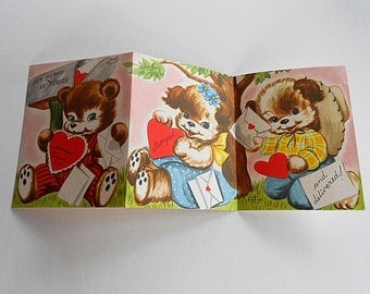 Vintage BEAR VALENTINE CARD 1950 Whitman 3 Trifold Mailbox Mail Love Letter Heart Girl Boy Puppy Dog Paper Ephemera Sealed Stamped Delivered