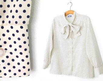 70s Ascot Blouse * Vintage Top * Polka Dot Blouse * 1970s Shirt * XL