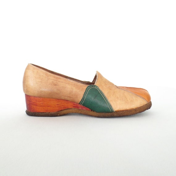 70s wedge shoes leather color block block shoes by