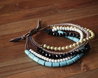Beaded Wax Cord Bracelet - turquoise, shiny gold, white, copper, black - adjustable