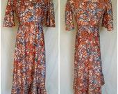 1960s/1970s Prairie Dress, Midi, Orange Floral Print Polyester, Medium