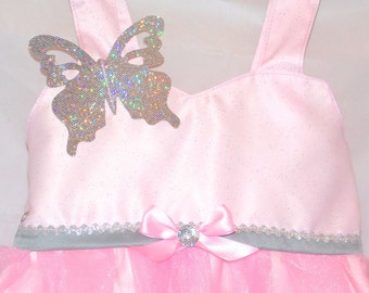 Glinda costume dress: pink and sliver, the good witch, lined, tutu dress, butterfly sparkle, easy on & off, costume, birthday party, glenda