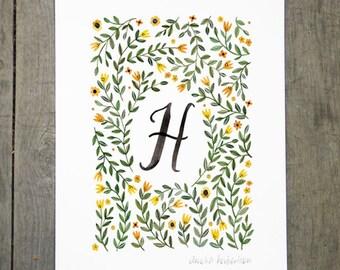Monogram Letter H floral art print