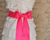 Satin sash in your choice of colors. Bridal belt Bridesmaids sash Flower Girl sash. Hot pink shown