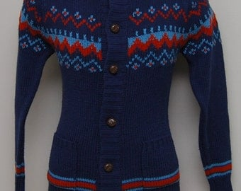 Vintage men's blue and red wood button cardigan/ Vintage men's blue cardigan/ National