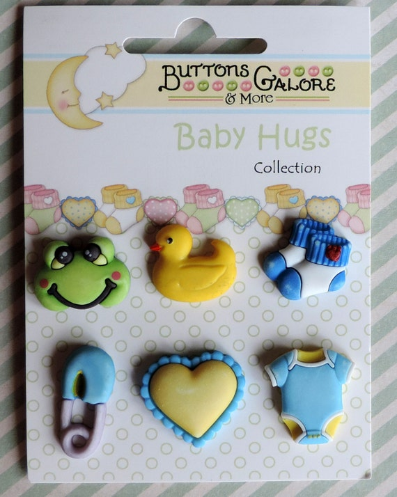 """Baby Buttons, Novelty Buttons, """"Little Baby Boy"""" Baby Hugs Collection, Style BH101 by Buttons Galore, Carded Set of 6"""