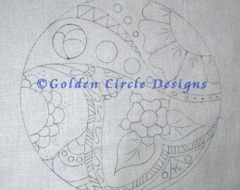 "Doodle Art 8"" Round Crewel Design on Linen"
