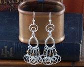 Steampunk Earrings - Silver Loop Earrings - Nautilus Earrings - Dangle Earrings - Steam Punk Earrings