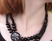 Black Beadwork Necklace - Black Beadwoven Necklace - Glass Necklace - Moth Necklace - Beaded Necklace