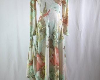 SEXY Vintage 1970's MOD 'Elegant Miss' Maxi Dress - Long and Luscious Retro Gown -  sz M