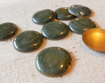 Irridescent Moss Green Enamelled Brass Disc Connectors (9) 20mm, Boho, Minimalist, Nature
