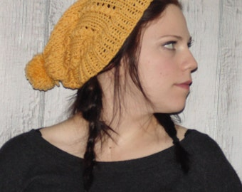 Womens Knit Hat, Yellow Knitted Hat - Slouchy Beanie - Pom Pom Hat - Yellow Hat