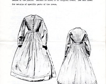 Pioneer Western Prairie Dress Pattern - Patterns of the Era of the Hoop Constance Dress - Size 12 to 14 Historical Costuming Civil War