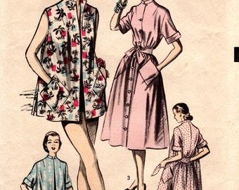 1950s Beach Coat Dress Pattern - Vintage Advance 5792 - B30