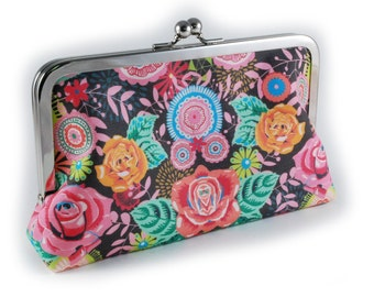 Floral clutch on charcoal