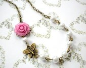 Flower Girl Necklace Gift For Kid Butterfly Necklace Kid Jewelry Baby Girl Necklace Children Jewelry Flower Girl Wedding Gift Rose Jewelry