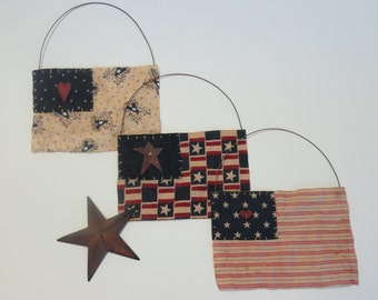 Primitive Flags - Rustic Country Home Decor - Americana Flags - Folk Art Ornaments - Red White and Blue - Stars and Stripes - USA Flags
