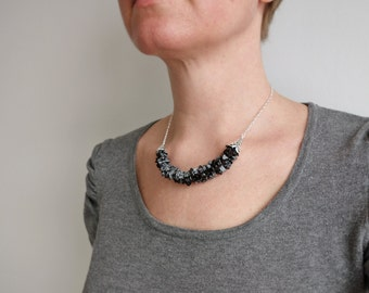 Stone bib necklace obsidian stones necklace minimalist bib necklace ooak