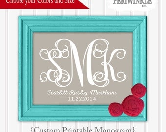 Monogram Printable-Custom color and sizes-Choose your color-girl monogram-wedding monogram-digital file-instant download-printable