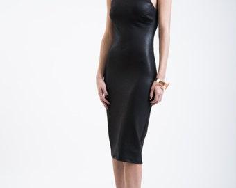 Pencil Dress / Midi Party Dress / Cocktail Dress / Shift Dress / Halter Neck Dress / Ponte Dress / marcellamoda - MD176