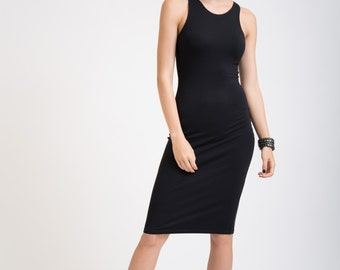 Black Dress / Racer Front and Back Dress / Designer Dress / Fitted Dress / Tight Dress / Party Dress / marcellamoda - MD081