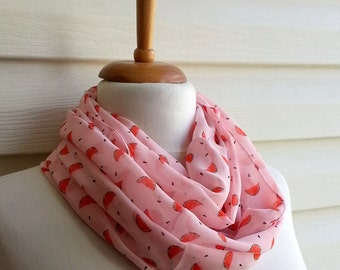 Pink Loop Scarf, Water Melon Printed Infinity Scarf, Chiffon Scarf, Urban Outfit, Lightweight Spring Fashion