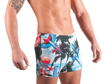 Blue Tropical Men's Swim Boxer by Vuthy Sim -  140-6