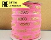 "Pink & Metallic Gold Foil : XOXO Fold Over Elastic Printed. Valentine's foe - 5/8"" foe 2, 5, 10 Yards. DIY Headband Supplies"