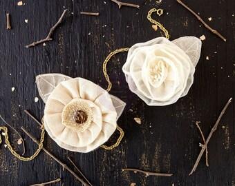 """Prima Oahu """"Lei"""" 578091 (2pcs) 3"""" inch Neutral Cotton Linen Lace Rosette Fabric Flowers. DIY Hair Accessories (Flat Back), Flower Appliques"""