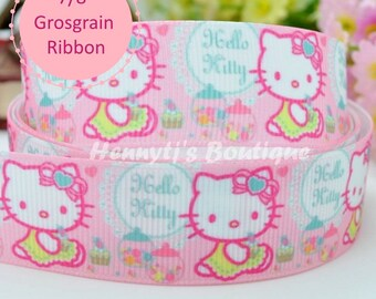 """4 yards : Hello Kitty Candy Character Cartoon Logo Brand Inspired Pink Grosgrain Ribbon 7/8"""" inch wide. Gift Wrap. DIY Supplies."""