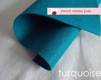 Wool Felt 1 yard cut - Turquoise - blue wool blend felt