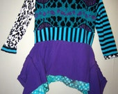 Purple and Teal Upcycled sweater fits S M