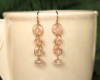 Rose Quartz Earrings, Simple Earrings, Natural Rose Quartz Dangle Earrings, Pink Gemstone, Drop, Waterfall Earrings, Pink Quartz, Minimalist