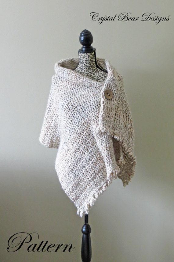 Crochet Shawl PATTERN / Button Wrap / Poncho / Easy ...