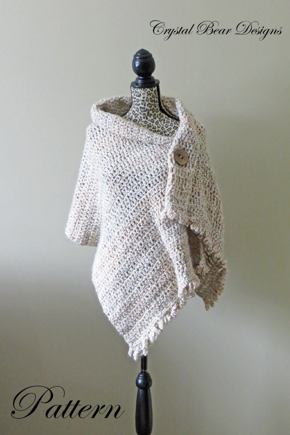 Easy Crochet Shawl Patterns For Beginners : Crochet Shawl PATTERN / Button Wrap / Poncho / Easy Beginner