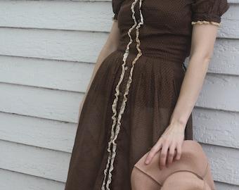 Sheer Polka Dot Dress Brown Vintage 40s 50s XXS or Girls