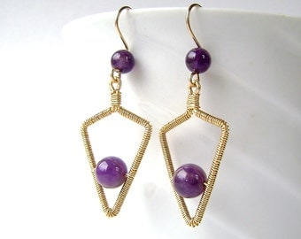 Amethyst Earrings, Gold Wire Wrapped, Arrowhead, Wire Wrapped Earrings, Purple Amethyst, 881
