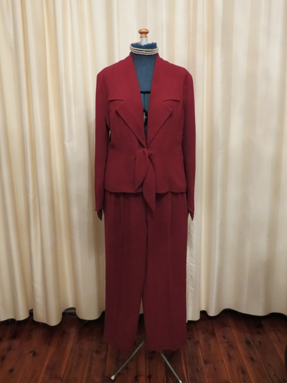 Simple  NEW Burgundy Red HardwareClip Button Women39s Size 14 Skirt Suit 179