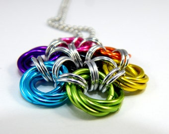 Chainmaille Jewellery, Chainmail Necklace, Peony, Flower Pendant, CHOOSE YOUR COLOR
