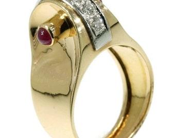 1940s Ruby Ring Diamond Rose Gold 18kt Vintage cocktail Ring ref.12087-0073