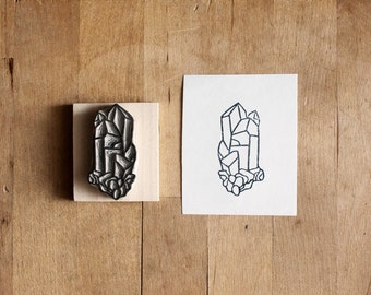 Raw Quartz No. 11 - Hand Carved Rubber Stamp