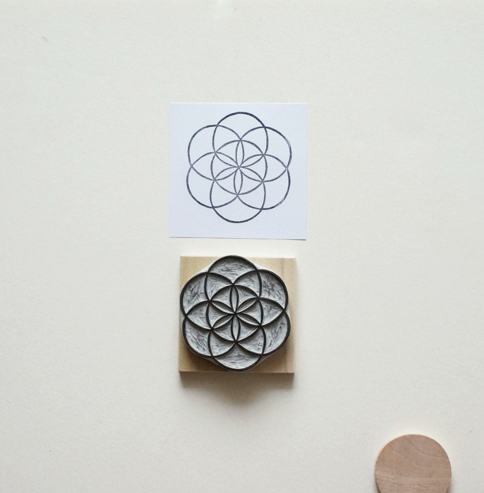 Sacred geometry no hand carved rubber stamp