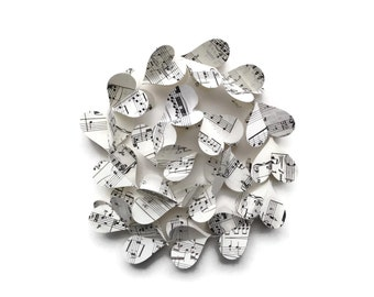 Handmade Party Supplies - 10 Vintage Sheet Music Heart Garlands - Musical Notes Decorations - Wedding Decorations - Classroom Decor
