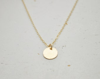 Hammered Gold Disc Necklace - small gold filled round charm 9.5 mm circle pendant classic - simple & sweet gift everyday jewelry handmade