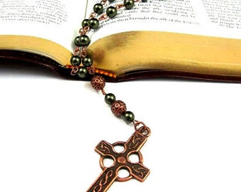 Anglican Prayer Beads - Celtic Cross with Swaravski Pearls in Antique Copper