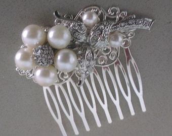 Bridal Comb,Bridal Hair Comb,wedding comb,Pearly Bridal Comb, rhinestone comb
