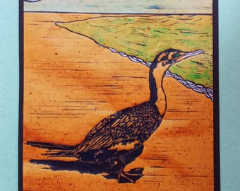 5 Cormorant Cards on Brown or Sage Green