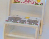 Kid's Flip Stool Hand Painted With Baby Elephant and Family Personalized